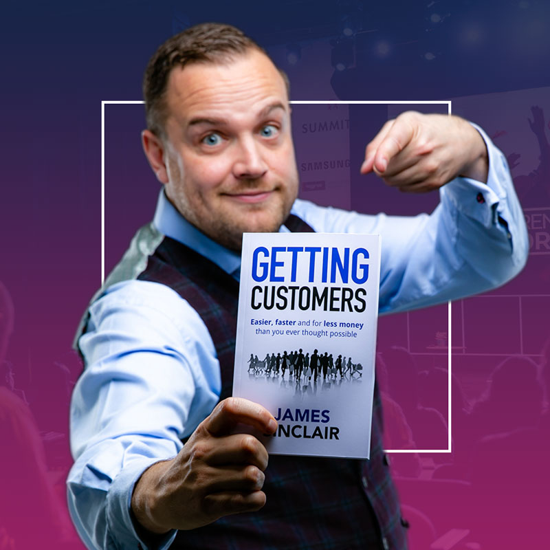James Sinclair pointing to his book 'Gettting Customers'